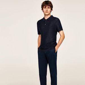 NWT Zara Man Size S+M Navy Blue FIne Knit Polo